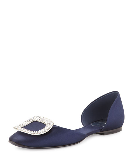 Chips Strass Crystal-Buckle d'orsay Flat, Navy