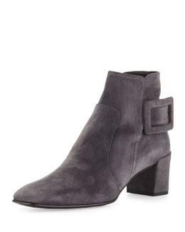 Polly Suede Side-Buckle Ankle Boot, Dark Gray