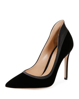 Satin-Trimmed Velvet High-Back Pump