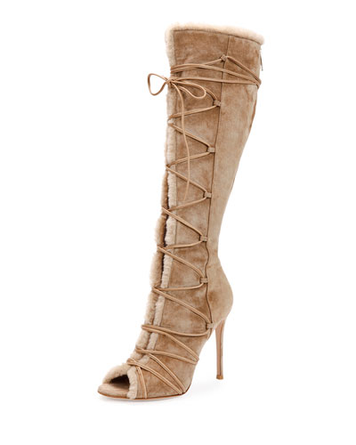 Open-Toe Shearling Lace-Up Boot, Bisque