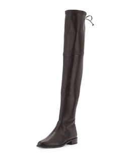 Lowland Stretch-Napa Over-the-Knee Boot, Black