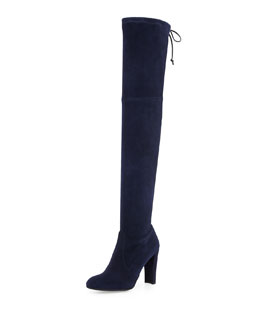 Highland Stretch-Suede Over-the-Knee Boot, Nice Blue