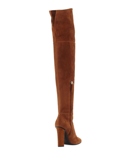Square-Toe Suede Over-The-Knee Boot