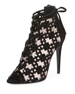 Woven Metallic Cage Sandal, Black/Pink Gold
