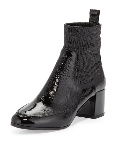 Ace Crinkled Patent Ankle Boot, Black
