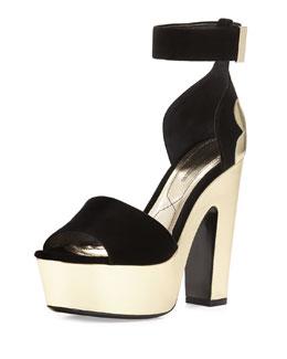 Pollypetal Metallic Platform Sandal, Black