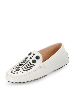 Gommini Embellished Leather Loafer, White/Black