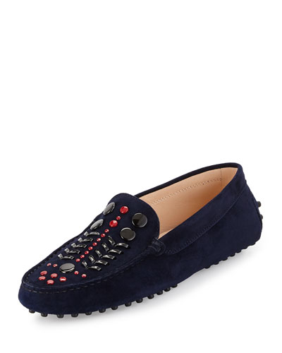 Gommini Embellished Suede Loafer, Navy/Pink