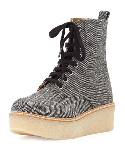 Stuart Tweed Lace-Up Boot, Gray