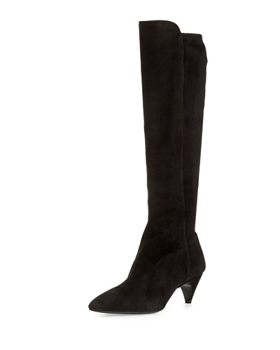 Stretch Suede Point-Toe Knee Boot, Black (Nero)