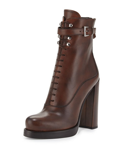 Burnished Leather Lace-Up Boot, Brandy