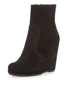 Suede Wedge Bootie, Black (Nero)