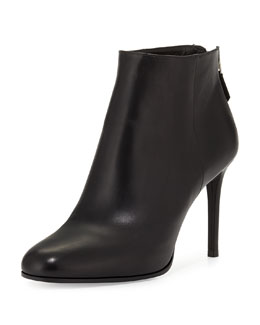 Leather Almond-Toe Ankle Bootie, Black (Nero)