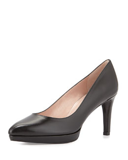 Plato Kid Leather Platform Pump, Black