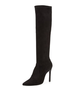 Benefit Stretch-Suede Knee Boot, Black