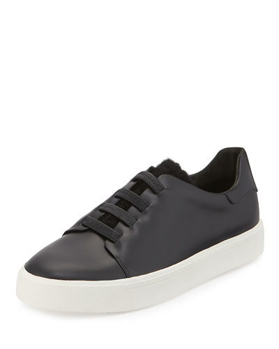 Bolton Laceless Leather Sneaker w/ Shearling Fur