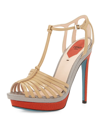 Colorblock Leather & Lizard-Print Strappy Sandal