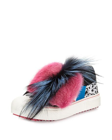 Mixed Fur Splatter-Print Sneaker, Black/Multi/Marshmallow