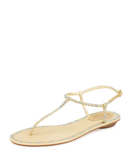 Rene Caovilla Crystallized Ankle-Wrap Flat Thong Sandal