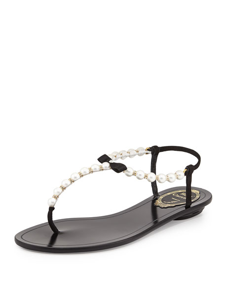 Pearly & Crystal Thong Sandal, Black