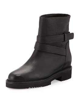 Cagney Shearling Fur-Lined Leather Moto Boot