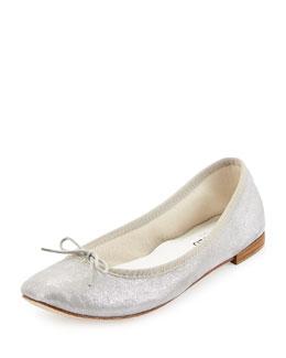 Cendrillon Metallic Suede Ballet Flat, Silver