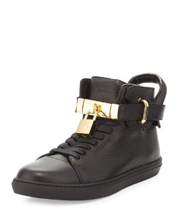 Padlock & Key Pebbled Leather Sneaker, Black