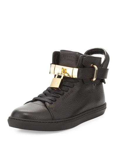 Padlock & Key Pebbled Leather Sneaker, Black