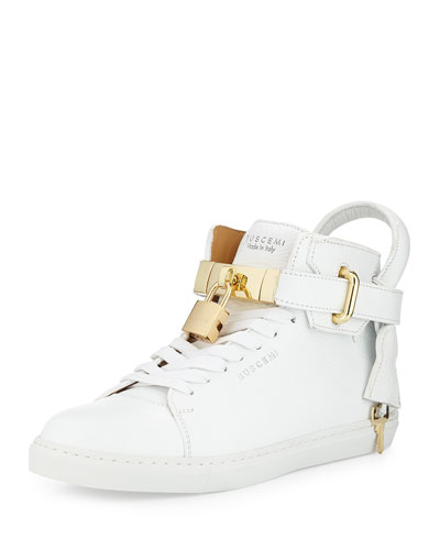 Padlock & Key Pebbled Leather Sneaker, White