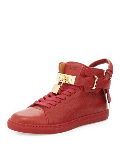 Padlock & Key Pebbled Leather Sneaker, Red