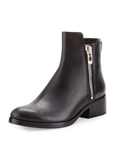 Alexa Zip Leather Ankle Bootie, Black