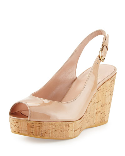 Jean Patent Leather Peep-Toe Wedge, Adobe