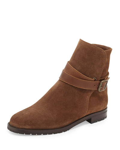 Sulgamba Suede Moto Boot, Medium Brown