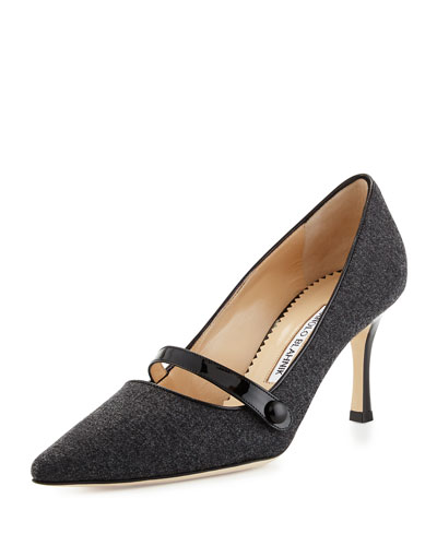 Mladar Flannel Mary Jane Pump, Medium Gray
