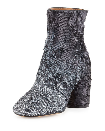 Paillette-Embellished Block-Heel Boot, Black/White