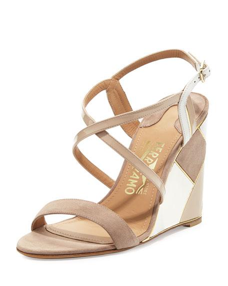2015 for sale footaction cheap online Salvatore Ferragamo Suede-Trimmed Wedge Sandals JaWEOg5w
