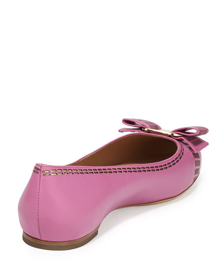 970b8b4d51 Salvatore Ferragamo Stitch Bow Ballerina Flat, Pink