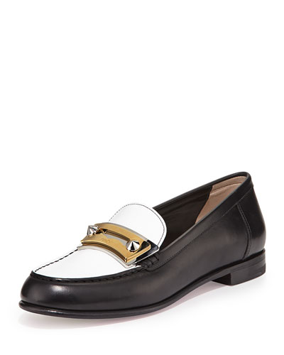 Rachel Bicolor Leather Penny Loafer, Black/White