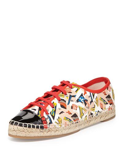Junia Vintage-Print Espadrille Sneaker, Multi