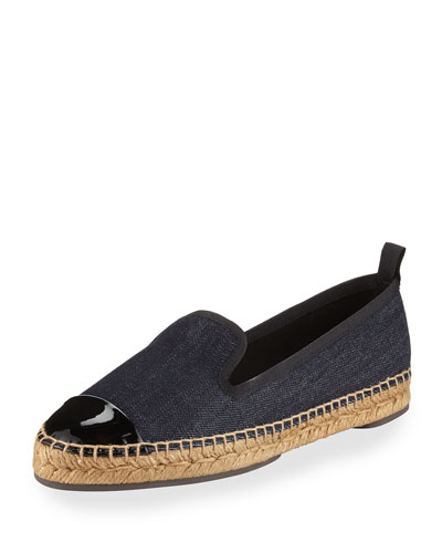 Junia Denim Cap-Toe Espadrille Flat, Black