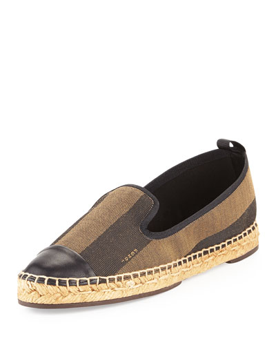 Pequin Stripe Espadrille Slipper, Brown/Black