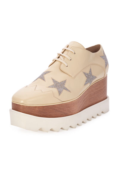 Faux-Leather Platform Creeper, Beige