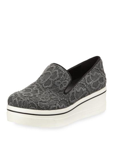 Crocheted Lace Platform Sneaker