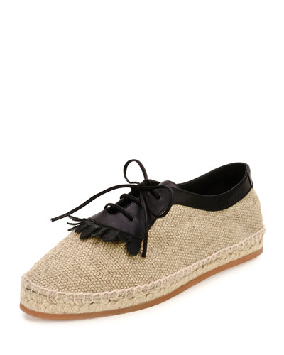 Woven Canvas Lace-Up Oxford, Natural/Black