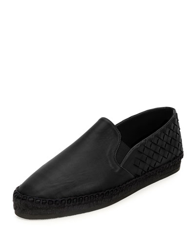 Intrecciato Woven Leather Espadrille, Black