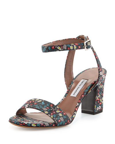 Leticia Floral-Print Leather Sandal, Black