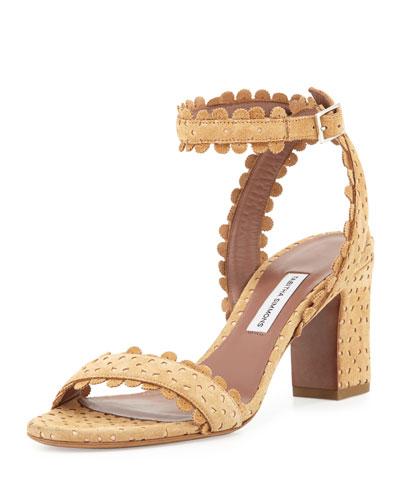 Leticia Eyelet Suede Sandal, Camel
