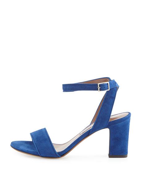 Leticia Suede Block-Heel Sandal, Blue