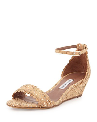 Juniper Eyelet Cork Demi-Wedge Sandal, Natural