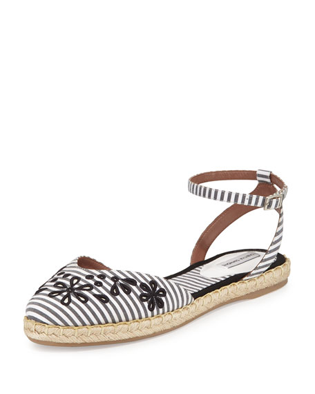 Dotty Striped d'Orsay Espadrille, Black/White